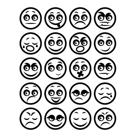 the human face: Illustration set of icons smiley faces. Vector Illustration