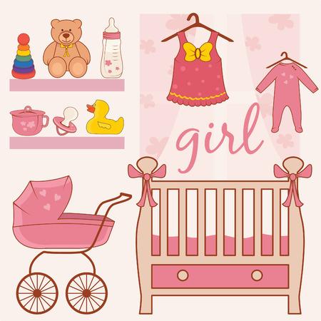 Illustration de la salle petite fille. Vecteur