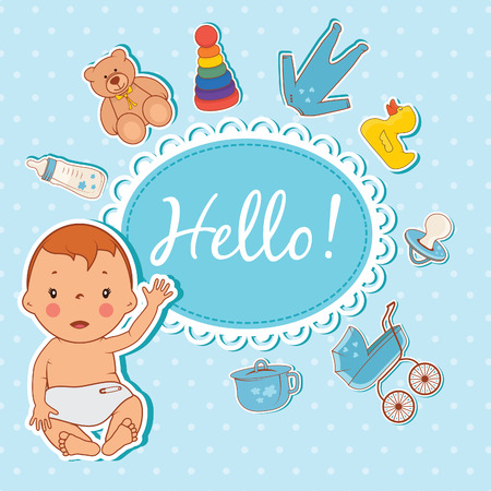 cartoon bottle: Illustration of cute baby boy. Vector Illustration