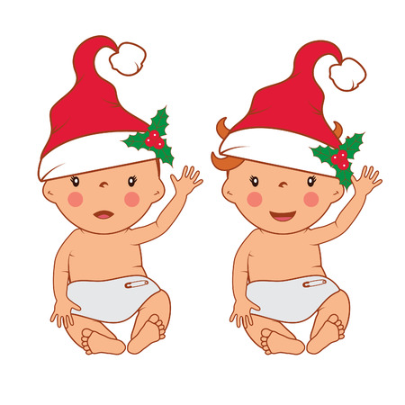 pampers: Illustration of funny smiling little babies in santas hat. Vector