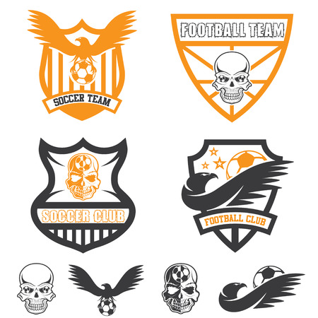 hawk: football team crests set with eagles and skulls Illustration