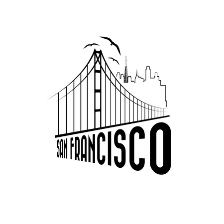 francisco: skyline of San Francisco vector design template Illustration