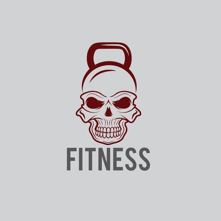 skull in the form of kettlebell fitness concept Vector