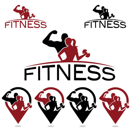 active: man and woman of fitness silhouette character and pins