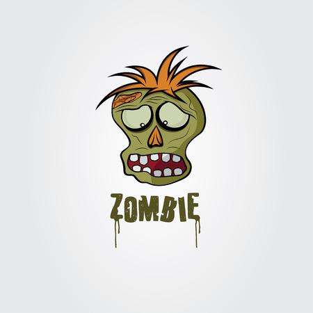 paranormal: Cartoon Zombie face design template