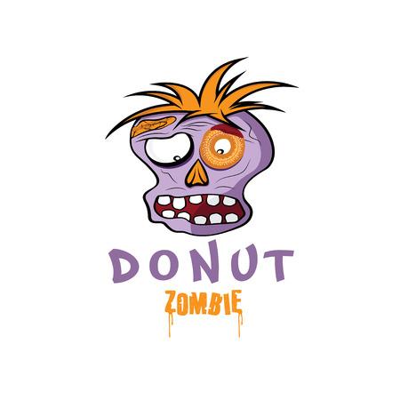 ghoulish: Cartoon Donut Zombie face design template