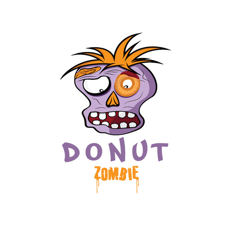 Cartoon Donut Zombie face design template