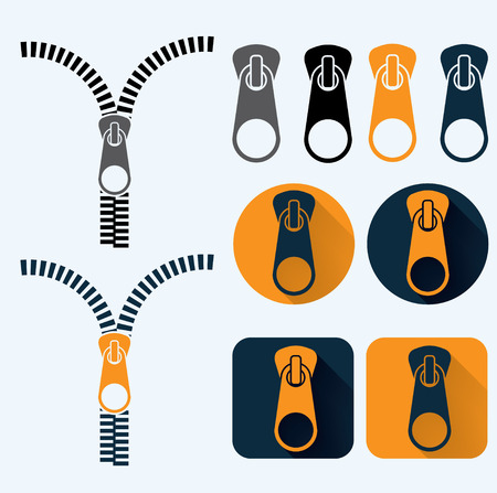 zipper illustration and icons set flat design