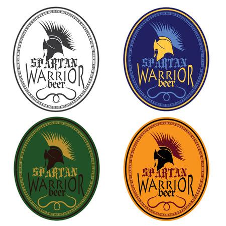 antiques: Old Vintage Antiques Spartan warrior beer bottle labels set Illustration