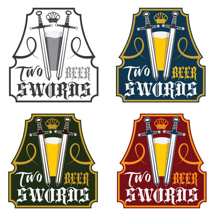 two swords beer vintage labels set Vector