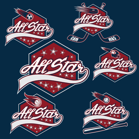 hockey: set of vintage sports all star crests