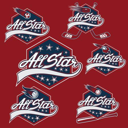 Set di sport d'epoca tutte le creste stelle Archivio Fotografico - 35098487