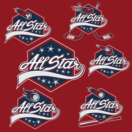 set van vintage sport all star toppen Stock Illustratie