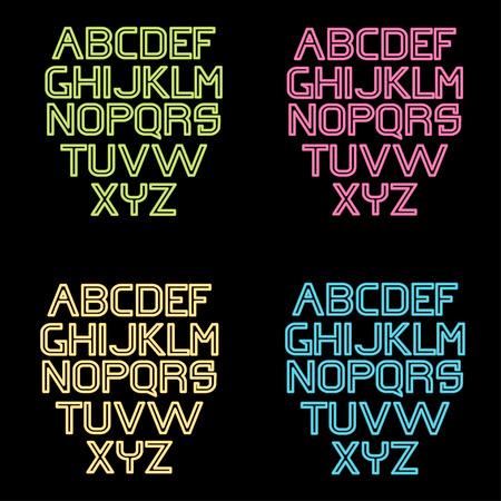 neon alphabet: neon alphabet set Illustration