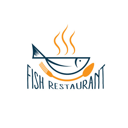 fish in the form of bowl, fish restaurant Vector