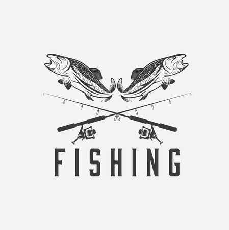 large mouth: vintage fishing design template Illustration