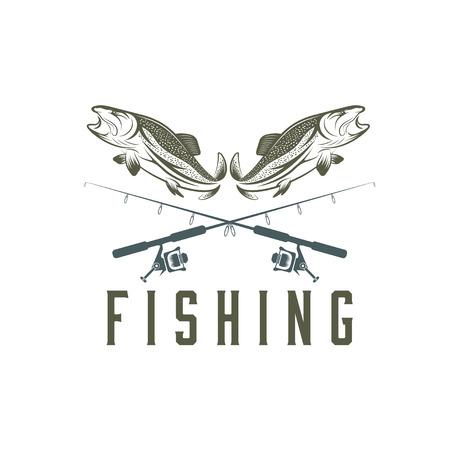 vintage fishing design template Vettoriali