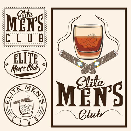 bourbon whisky: mens club vintage labels with cigars and whiskey glass