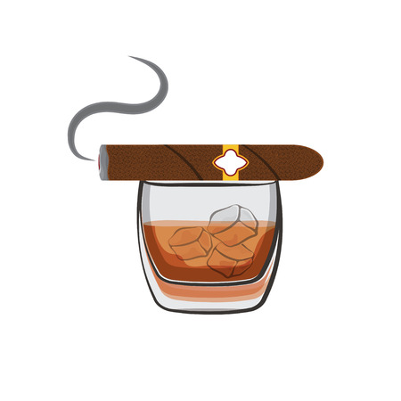 havana cigar: Whiskey with ice cubes and cigar Illustration