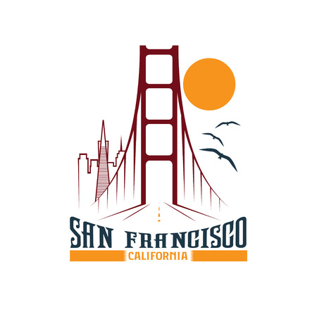 skyline van San Francisco design template Stock Illustratie