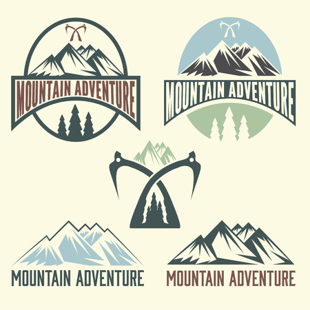 snow mountains: set of vintage labels mountain adventure Illustration