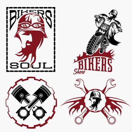 bikers theme labels with biker man, motorbike and repair tools Vector