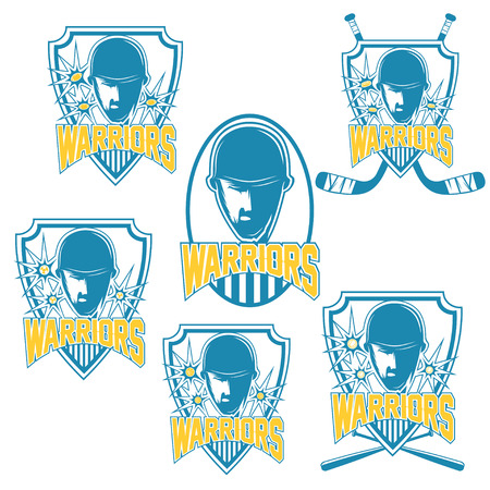 major league: set of vintage sports clubs with warrior face