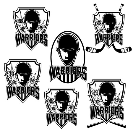 set of vintage sports clubs with warrior face Vector