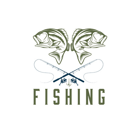 largemouth bass: vintage fishing design template Illustration
