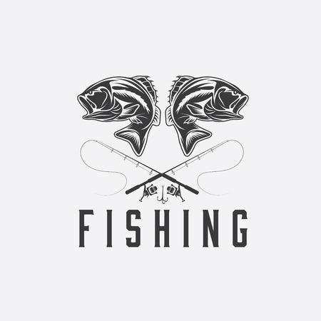 sea bass: vintage fishing design template Illustration