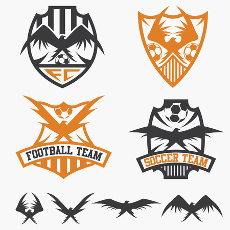 school sport: football team crests set with eagles vector design template