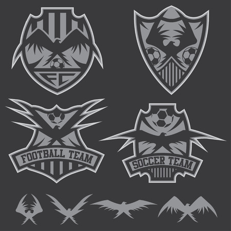 football team crests set with eagles vector design template Vector