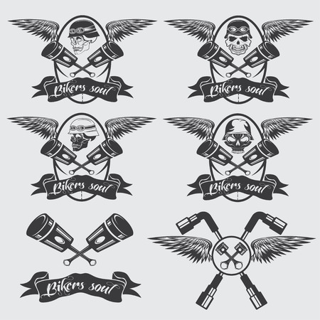 biker theme labels with pistons and skulls with wings Vector