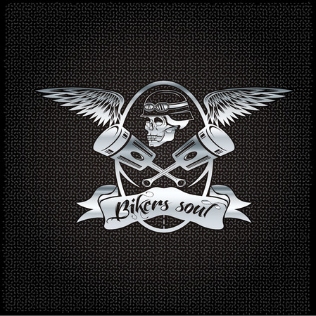 bikers soul silver crest with skull,wings and pistons Vector