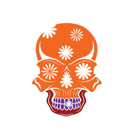 dia de los muertos: Day of The Dead Skull with flowers, dia de los muertos
