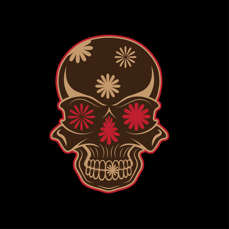all saint day: Day of The Dead Skull with flowers, dia de los muertos