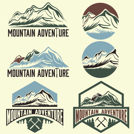 ice axe: set of vintage labels mountain adventure Illustration