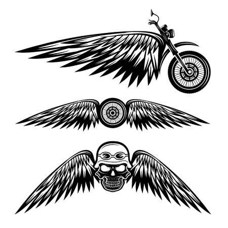 biker theme labels with wheel,bike and skulls with wings Ilustração