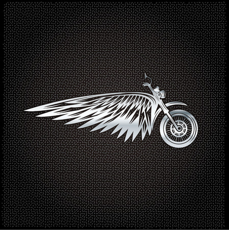 biker theme silver label with wheel,bike and wings