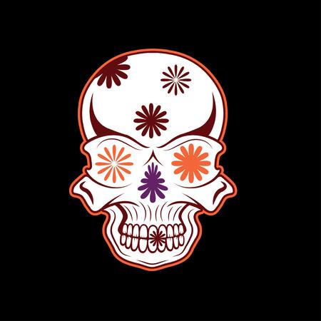 Day of The Dead Skull with flowers, dia de los muertos