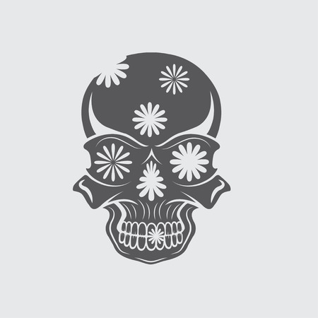 all souls' day: Day of The Dead Skull with flowers, dia de los muertos