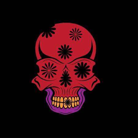 catrina: Day of The Dead Skull with flowers, dia de los muertos