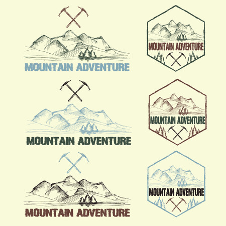 ice axe: set of sketch vintage labels mountain adventure