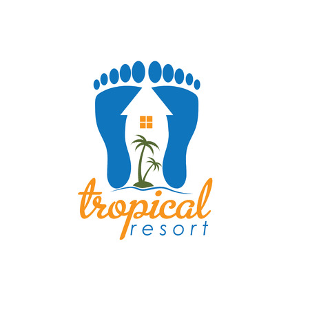 footprint sand: tropical resort vector design template