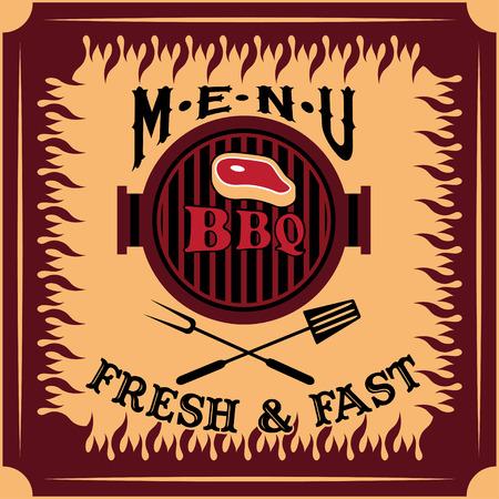 haunch: bbq menu card vector design template