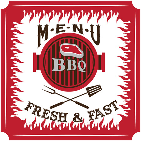 bbq menu card vector design template