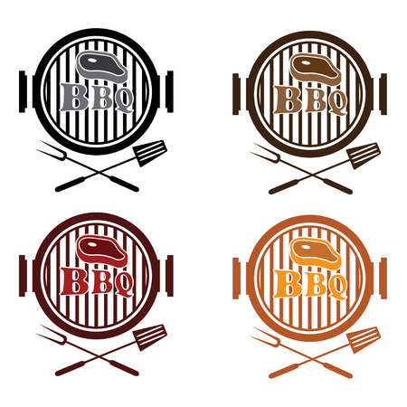 set of bbq labels vector design template