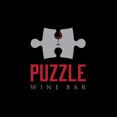 wine  shabby: puzzle wine bar negative space concept