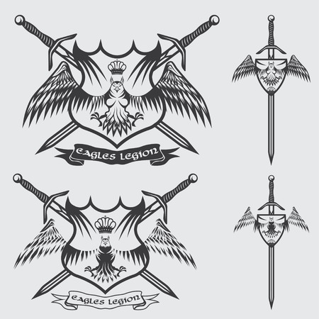 crests: eagle with crown and swords crests collection
