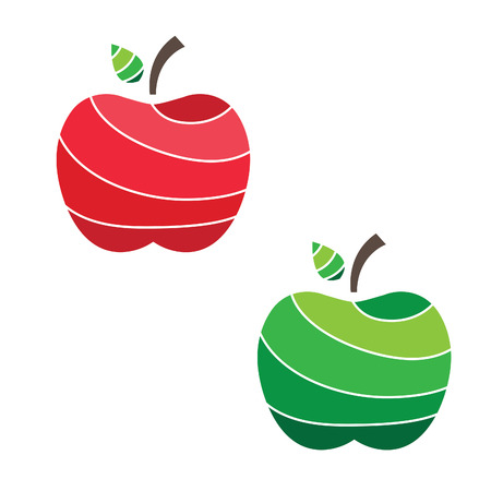 simple cross section: Illustration of juicy apples. vector